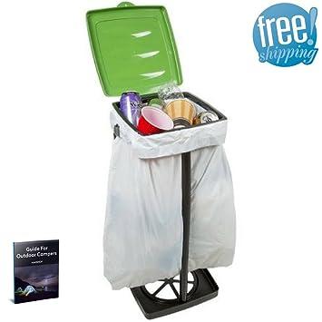 Amazon.com: Trash Bag Frame Holder Garbage Bag Stand Holder Camping Rv  Portable Kitchen Waste Rubbish Garden Outdoor Indoor Bin Outside Green  Collapsible ...
