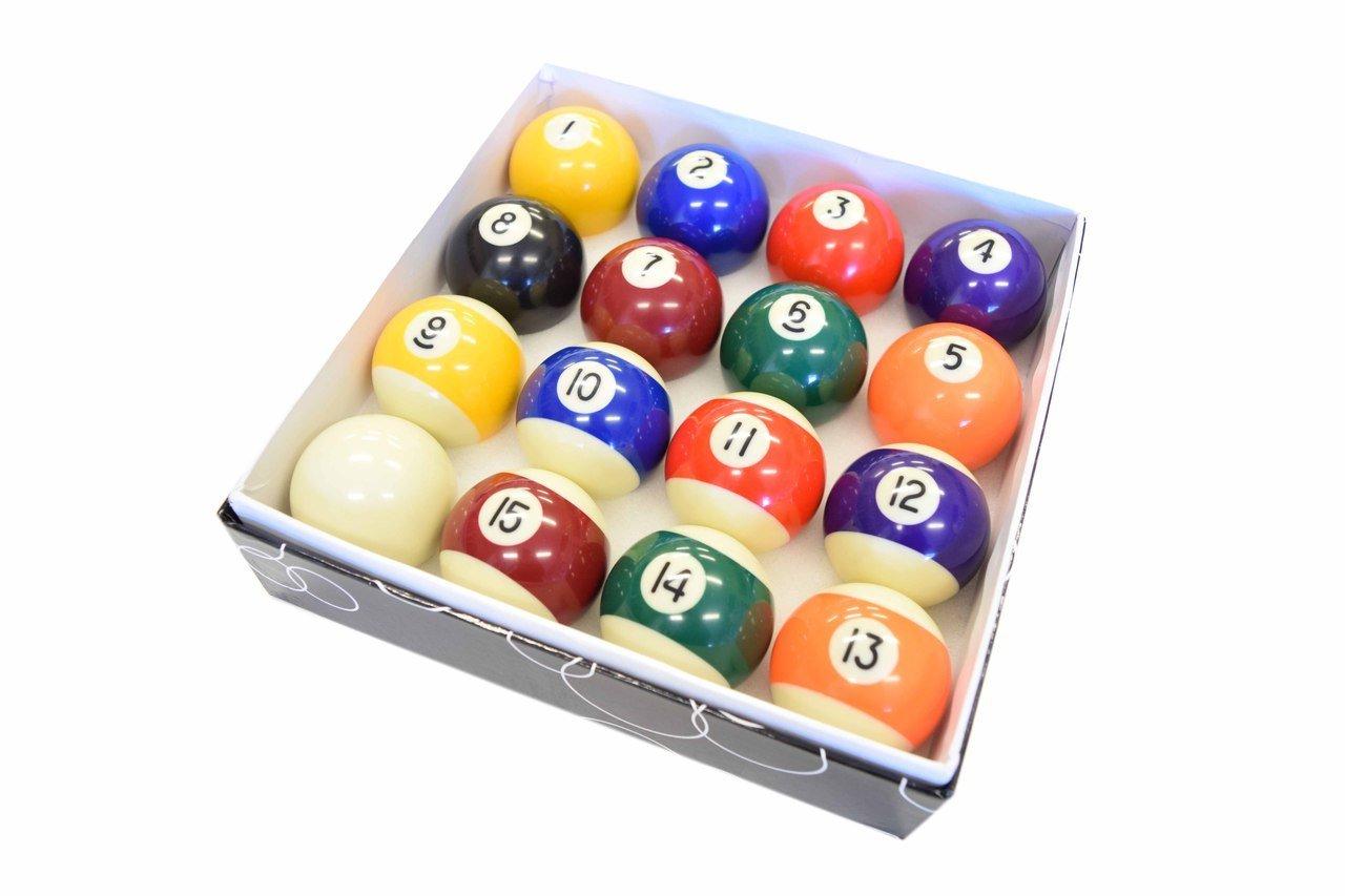 Pool Table Billiard Ball Set - 2-1/16'' Full 16 Pool Ball Set