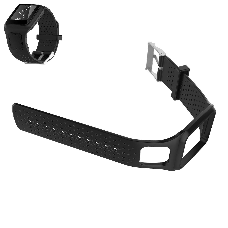 WEINISITEシリコン調節可能な交換用ストラップブレスレットfor TomTom Runner 1 / TomTom multi-sport Cardio / TomTom multi-sport GPS Watch / TomTom multi-sport + HRM ブラック ブラック B071JH35LR