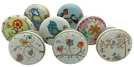 Pomelli Per Credenza Vintage : G decor set di 8 pomelli in ceramica con motivo uccelli e giardino