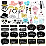 Photo Booth Props Wedding Set By Garloy,51 Pcs Colorful Props On A Stick Mustache Photo Booth Party Fun Wedding Christmas Birthday Favor(Need Assembly)