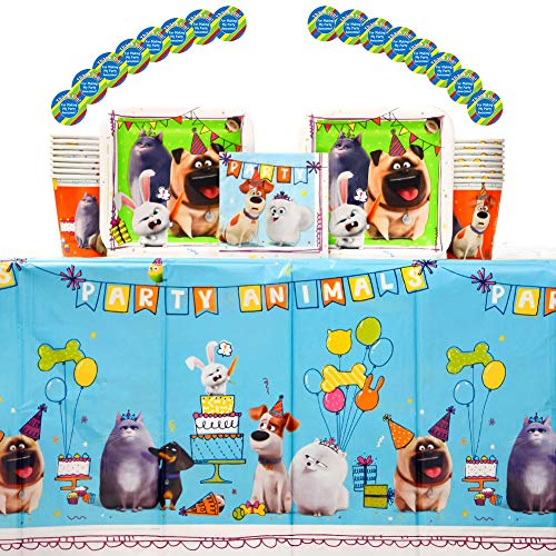 The Secret Life Of Pets 2 Birthday Party Supplies Pack for 16 Guests | Paper Cups, Paper Dessert Plates, Paper Beverage Napkins, Stickers, and Plastic Table Cover | Kids Birthday Party Supplies