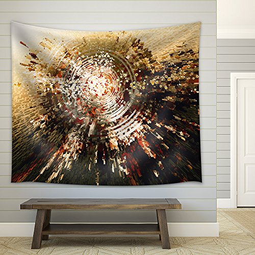 Digital Painting of Abstract High Technology Circle Background Fabric Wall