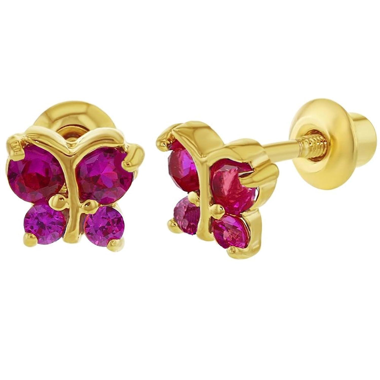 K chapado oro rosa con forma de mariposa con circonitas rosa pendientes