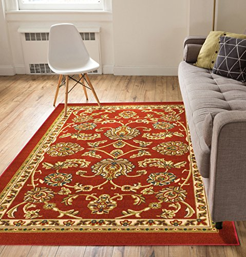 Brick Red Oriental Rug - Well Woven Non-Skid/Slip Rubber Back Antibacterial 8x10 (7'10