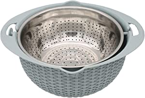 2-IN-1 Strainer Colander Rotatable Fruit Baskets for Kitchen Micro-perforated Strainers Detachable Self-draining for Pasta Rice Spaghetti Noodles Salads Vegetables - Blue