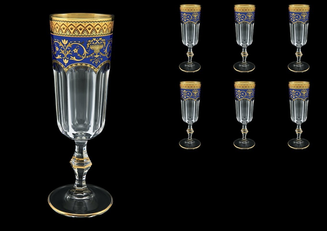 160/ML 6/ /Er Set Exclusive CRYSTAL Champagne Flutes Provenza in Flora S empiri Oro Blu Decor