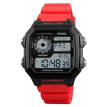 Reloj Deportivo Multifuncional para Deportes Al Aire Libre, Moda, Impermeable, Contador De Pasos, BrúJula De Aventura, Reloj ElectróNico,Red: Amazon.es: ...
