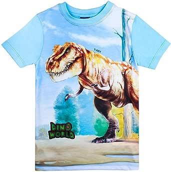 Dino World, Dinosaurio Niños Camiseta, Azul Oscuro