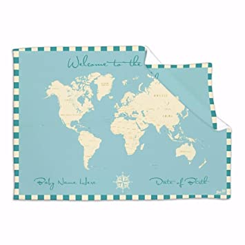 Amazoncom Personalised Baby Blanket Welcome To The World Map - World map blanket