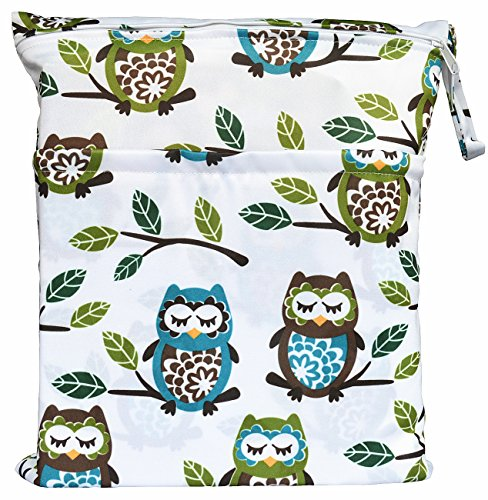 Wet Dry Bag Baby Cloth Diaper Nappy Bag Reusable with Two Zippered Pockets (Owl&Tree)