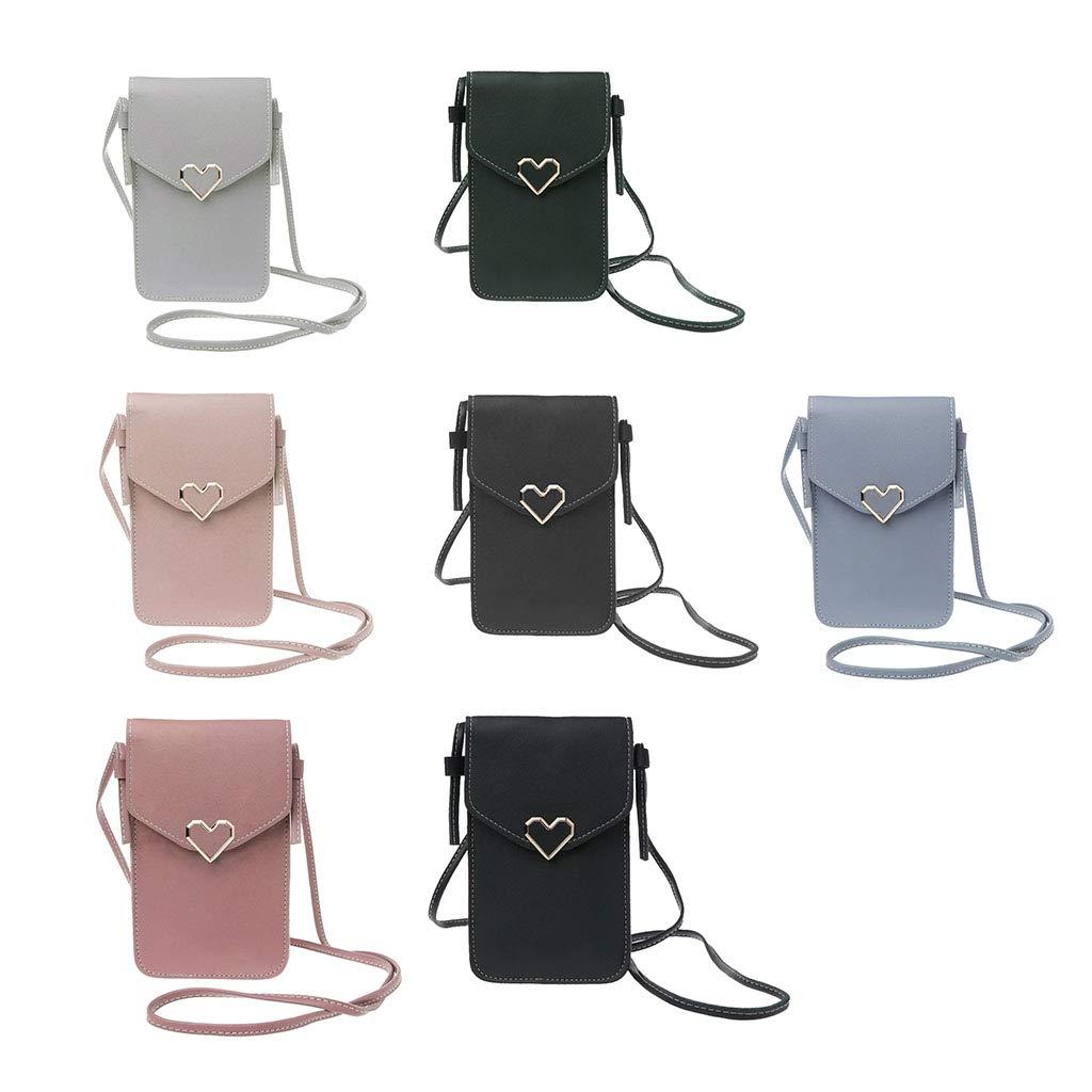 Transparent Touch-Screen Phone Bag,Mini Messenger Bag cici store Heart-shaped Decorative Shoulder Bag