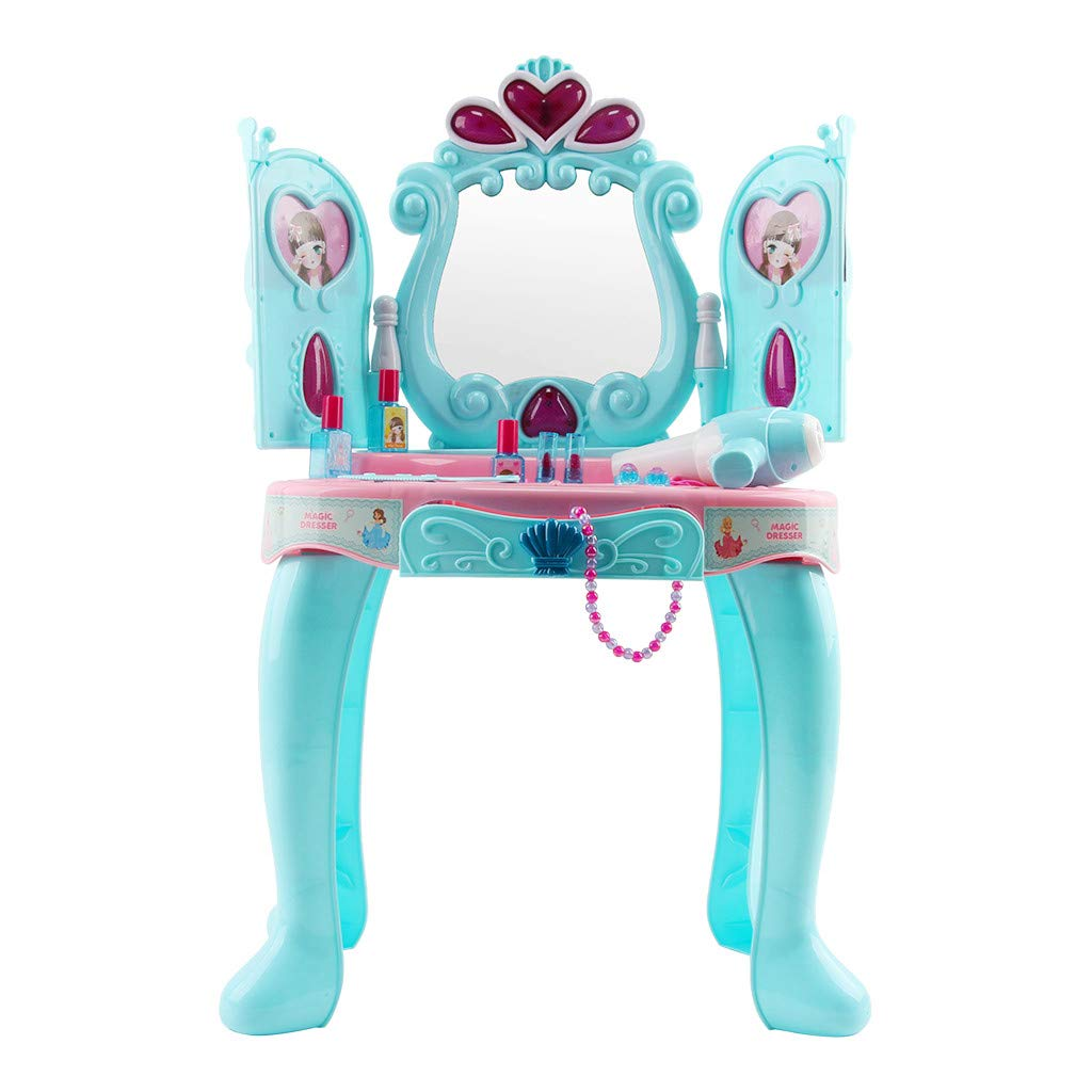 New Dressing Table Kids Toys,Fantasy Beauty Dresser Table with Induction Door Music Dressing Table,Creative Kids Toys Set,Light Music Dressing Table with Makeup Accessories (Blue) by Wociaosmd-Kids Toys