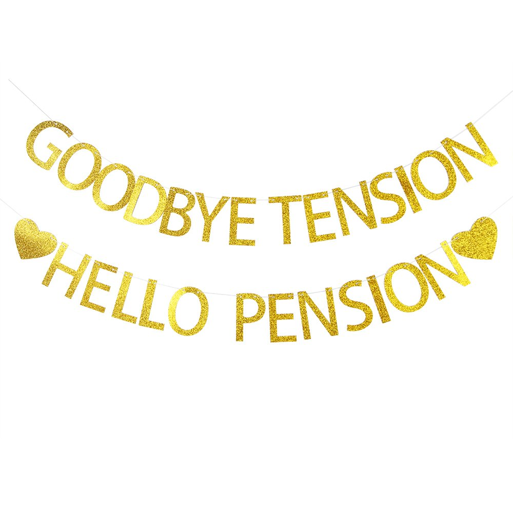 Lovely BITON Gold Goodbye Tension Hello Pension Letters Banner Decoration Kit Themed Party Banner for Retired Theme Party Showers Photo Props Window Decor