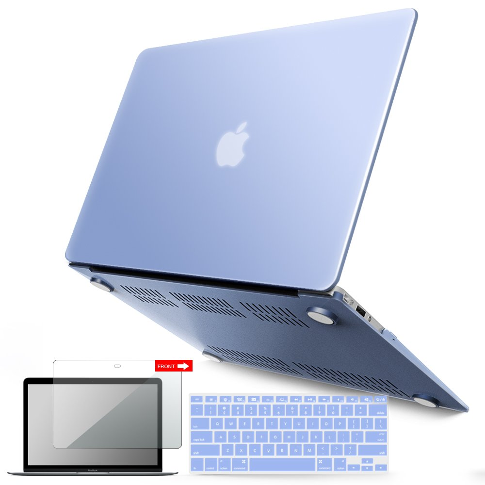 iBenzer Basic Soft-Touch Series Plastic Hard Case, Keyboard Cover, Screen Protector Apple MacBook Air 13-inch 13'' A1369/1466, Serenity Blue
