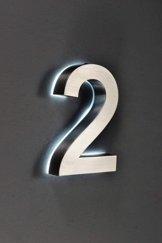6 Hausnummer LED 3D Edelstahl V2A H/öhe 20cm beleuchtet rostfrei mit Tranformator 220 Volt D/ämmerungssensor vollautomatisches An und Aus Patentiert erh/ältlich 0 1 2 3 4 5 6 7 8 9 a b c d 6