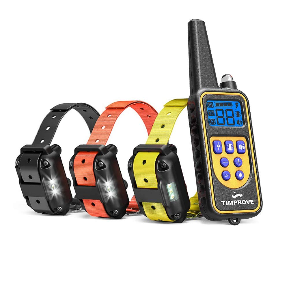 Oxygentle 330 Yards Range Remote Dual Dog Training Collar, Rechargeable and IPX7 Rainproof Dog Shock Collar with Beep, Vibration and Shock, Electric Dog Collar for Puppy, Small, Medium and Large Dogs, 2 Electronic Collar Receivers Included