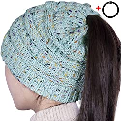 Sierry Womens Confetti Knit Beanie Hat, Soft Stretch Cable Hat With Ponytail Hole Pattern - Thick Soft Warm Winter Hat - CC Style
