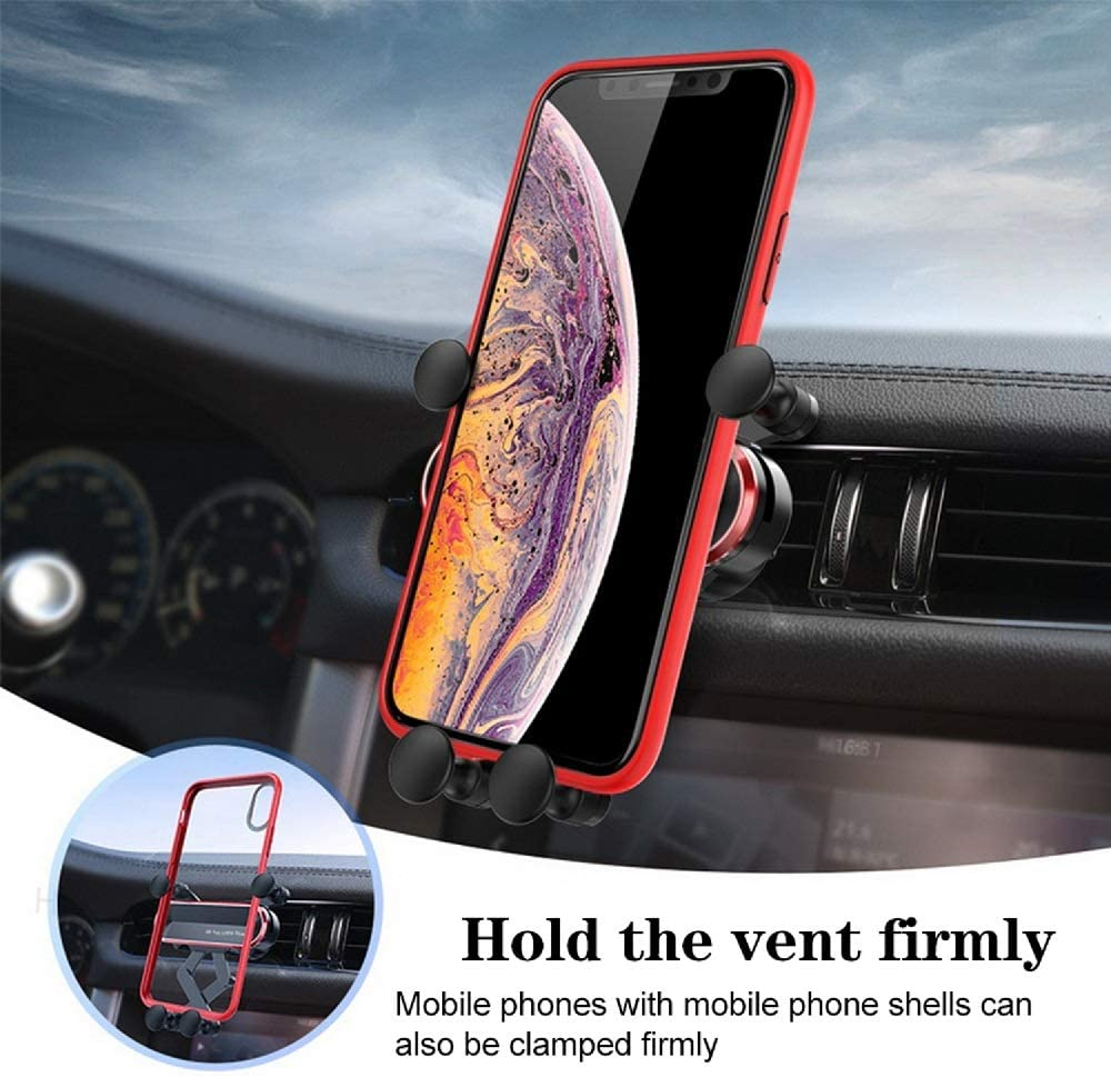 Gravity Car Phone Mount Auto-Retractable Bracket Stable Car Cradle 360 Degree Adjustable Car Phone Holder for iPhone XR//XS Max//XS//X//8//8 Plus//7//7 Plus Galaxy S10//S10 Plus//S9//Note 9 and More Red
