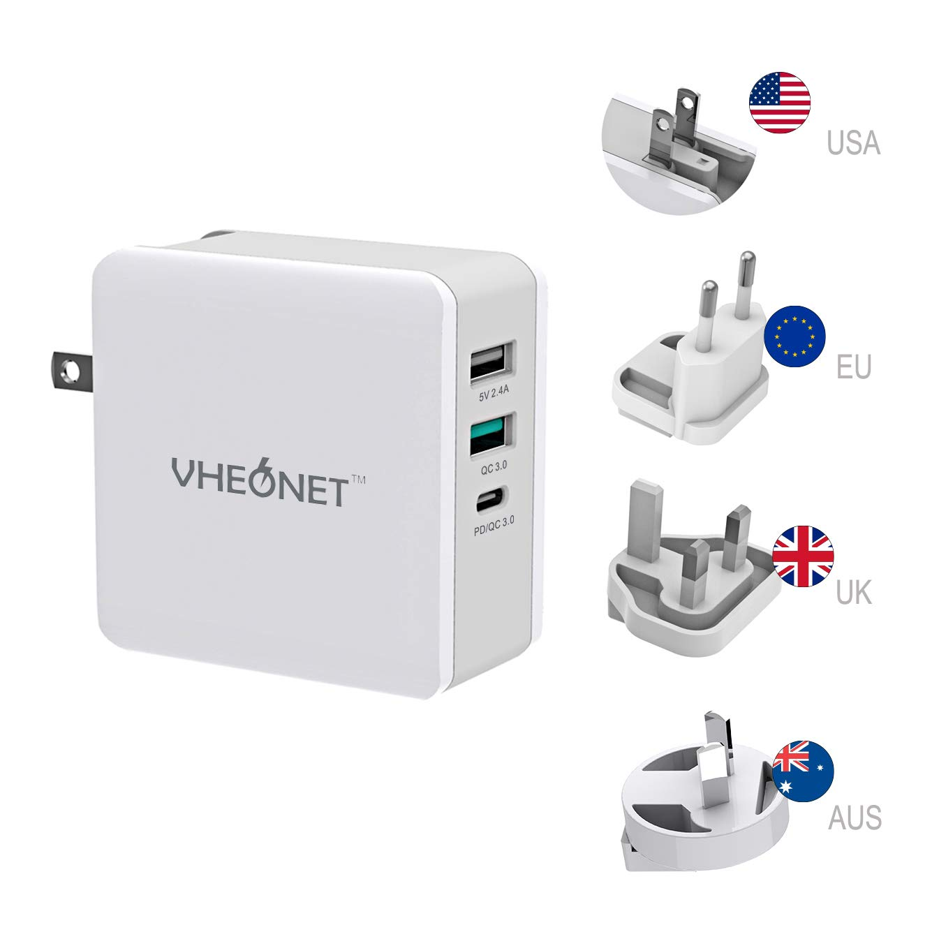 Fast Charging USB C Wall Charger 3-Port 65W PD Wall Adapter with Foldable Plug for MacBook, iPhone Xs/XS Max/XR, Samsung Galaxy S8 / S8+ / Note8 and More (White) by VHEONET