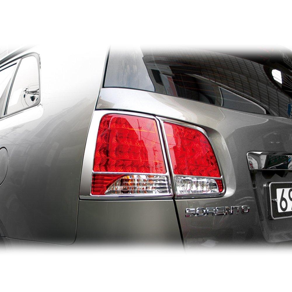 SAFE Rear Chrome Tail Light Lamp Trim Molding Cover 4pc Set For 2010 2011 2012 Kia Sorento R