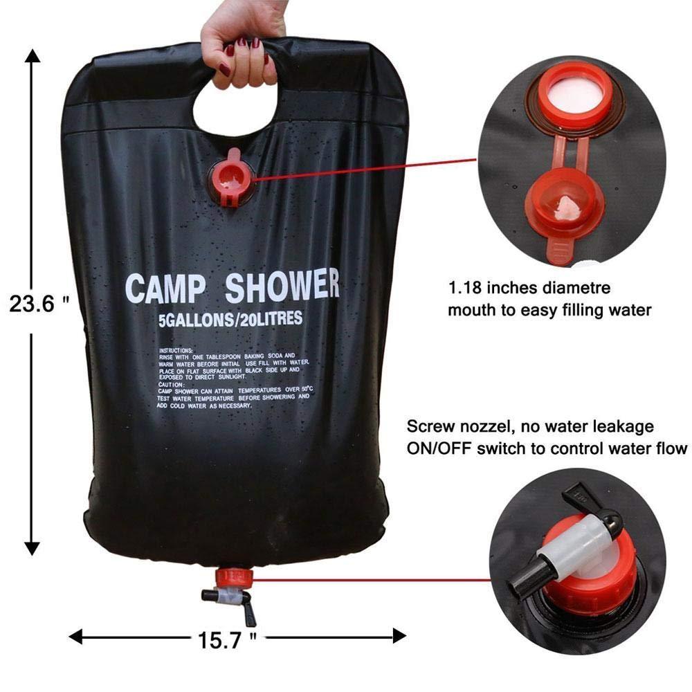 monta/ñismo Bolsa de agua solar port/átil de 20 l para camping bolsa de ducha port/átil Haudang bolsa de almacenamiento de agua de PVC para exteriores