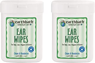 product image for Earthbath Pet Ear Wipes - Cleans & Deodorizes, Aloe Vera, Vitamin E, Witch Hazel, Good for Dogs & Cats - Keep Your Pet's Ears Naturally Clear and Infection Free - 25 Count, Pack of 2