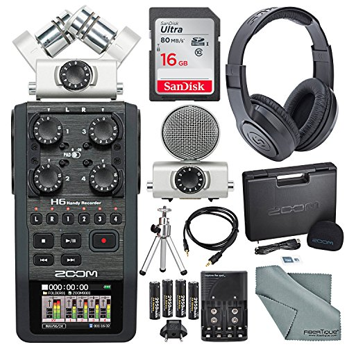 Zoom H6 Six-Track Portable Recorder with Interchangeable Microphone System with Deluxe Accessory Bundle from Zoom