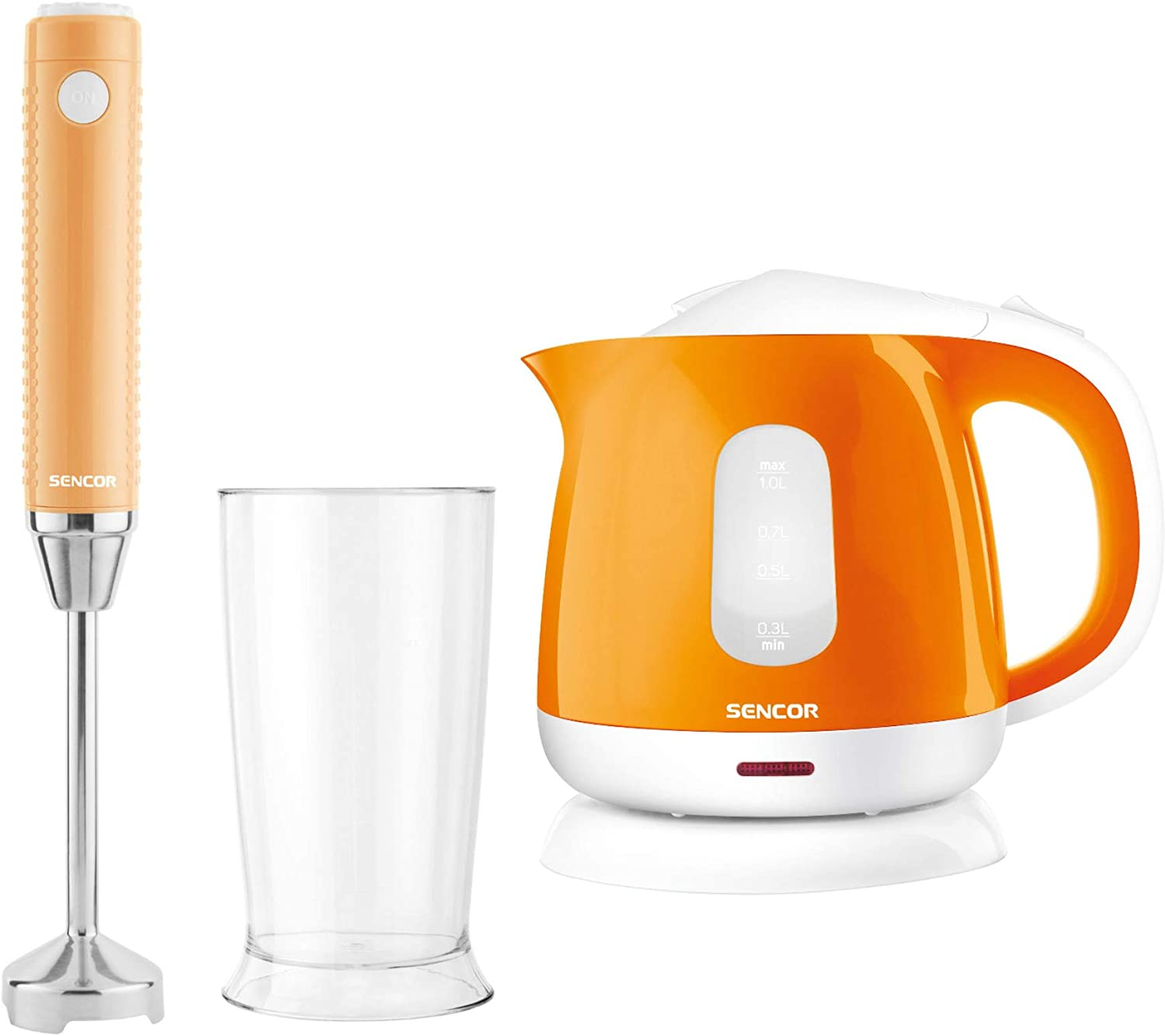 Sencor Extra Slim Hand Blender and Small Electric Kettle Bundle (Orange)