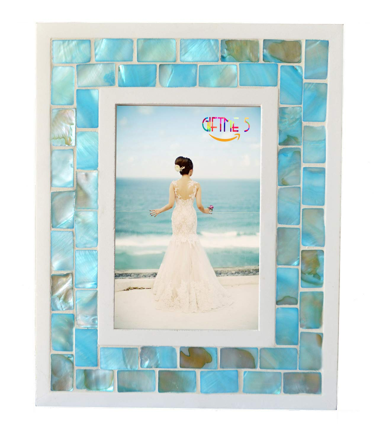 e8ceb18d44c Amazon.com - GIFTME 5 Picture Frame 5x7 Mother of Pearl Mosaic Photo Frame