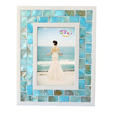 GIFTME 5 Picture Frame 5x7 Mother of Pearl Mosaic Photo Frame,Beach Tabletop or Wall Hanging Picture Frames(5x7 inch, Blue)