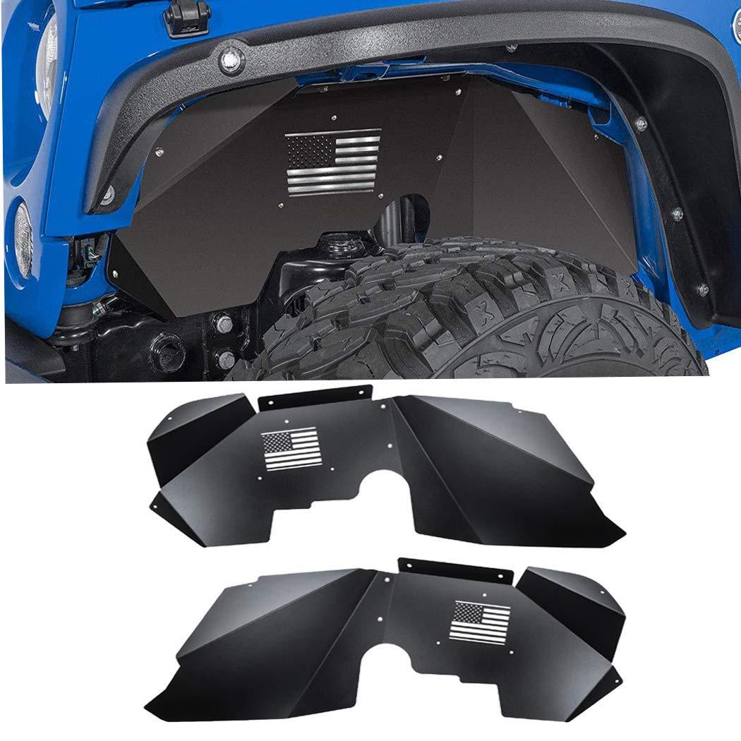 4 Pcs Front Inner Fender Liners Lightweight Aluminum Design Protection and Increased Air Flow for J-eep Wrangler 2007-2018 JK JKU Sahara Rubicon Unlimited Sport 2 Doors//4 Doors