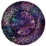 yoga mat marvel - FINCIBO Large Round Towel Microfiber Soft Water Absorbent Multi-Purpose 59 inch for Beach Blanket Yoga Tapestry - Purple Marvel Nebula Mandala