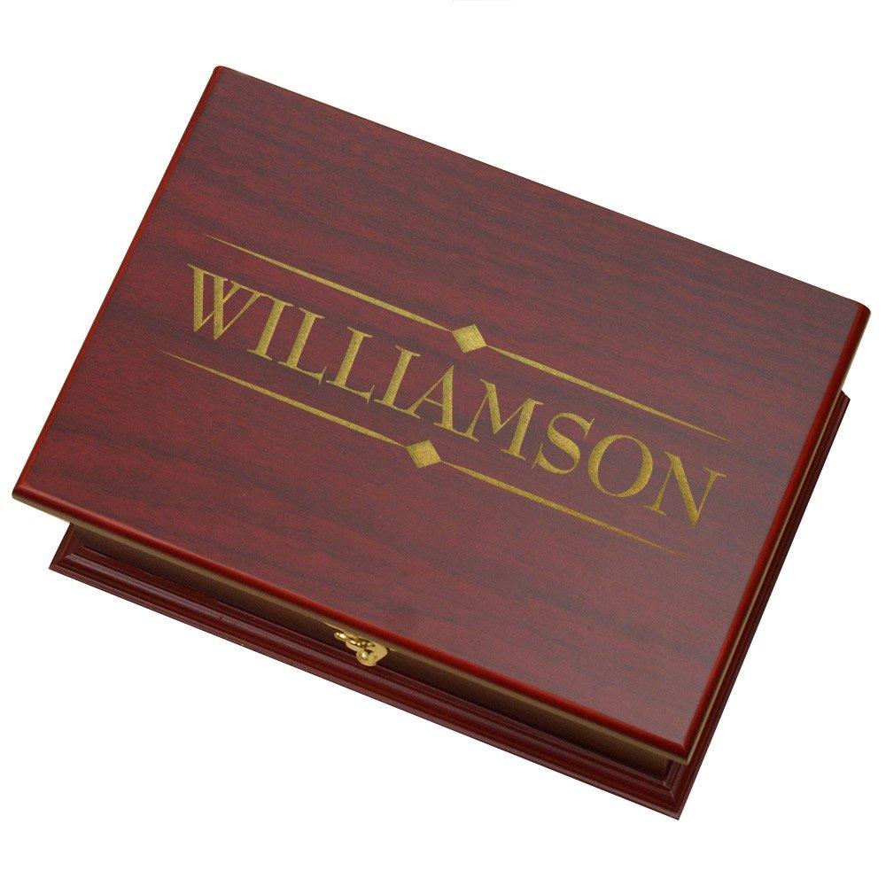Engraved Family Tea Box, Rosewood, 9'' x 6.25'' x 3.75''