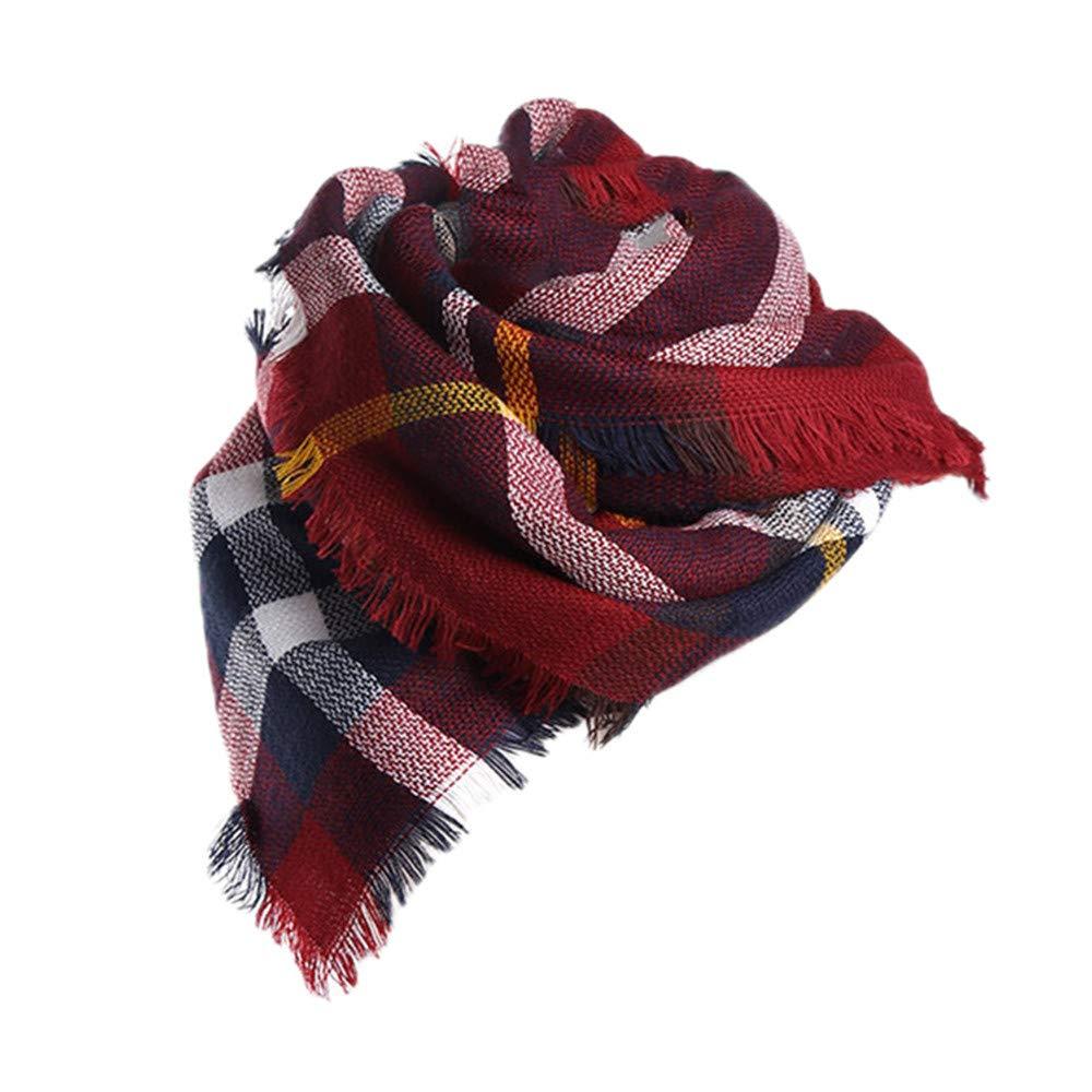 Hishiny Tartan grande sciarpa scialle moda donna Stola Plaid nappe Scarf Sciarpa Donna Invernale Tartan Accogliente Caldo Scialle Sciarpa Donna Inverno Stola Pashmina Sciarpa