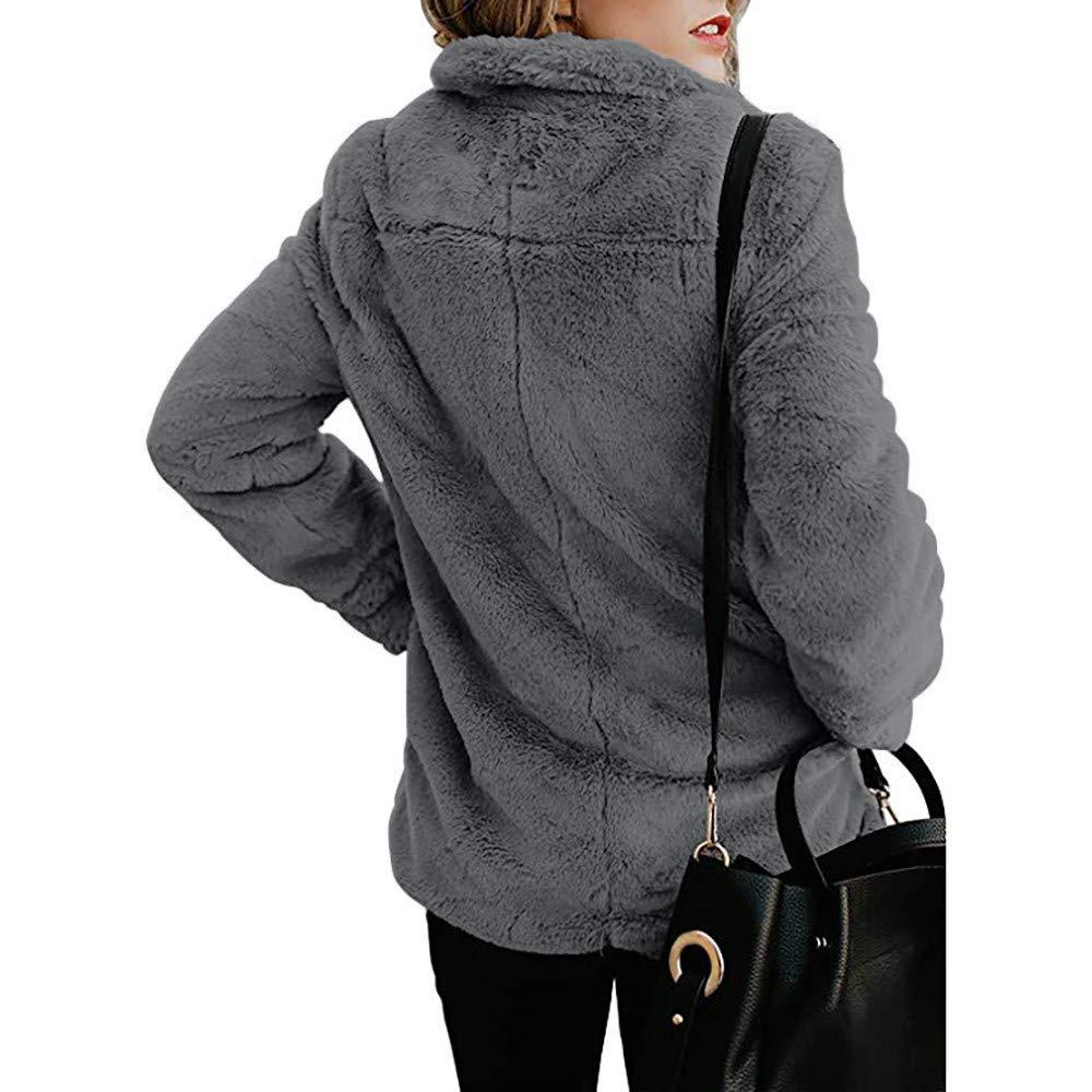 Cozy Pullover for Women,Womens Fleece Winter Warm Casual Open Front Jacket Coat Pockets Outerwear