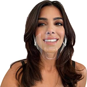 (10 Masks) Transparent mask Hygienic Open Face Shield for Foodservice - Hospitality - Retail I Anti-Fog I Clear Open Mouth Design with Chin Rests I Rinse & Reuse I Fully Disposable