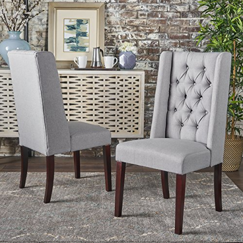 Christopher Knight Home 302096 Blythe Dining Chair Set, Light Grey/Brown For Sale