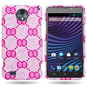CoverON® Hard Slim Design Case for ZTE Vital / Supreme - with Cover Removal Pry Tool - White Pink Bow Lace