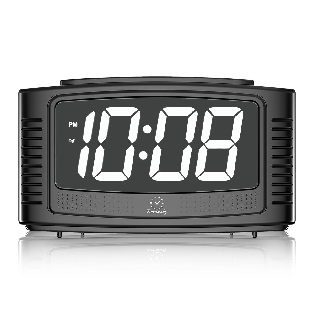 DreamSky Digital Alarm Clock with Snooze, 1.2'' Nice White Led Display with Dimmer, Loud Beep Alarm Sound, Simple Operation, DC Powered