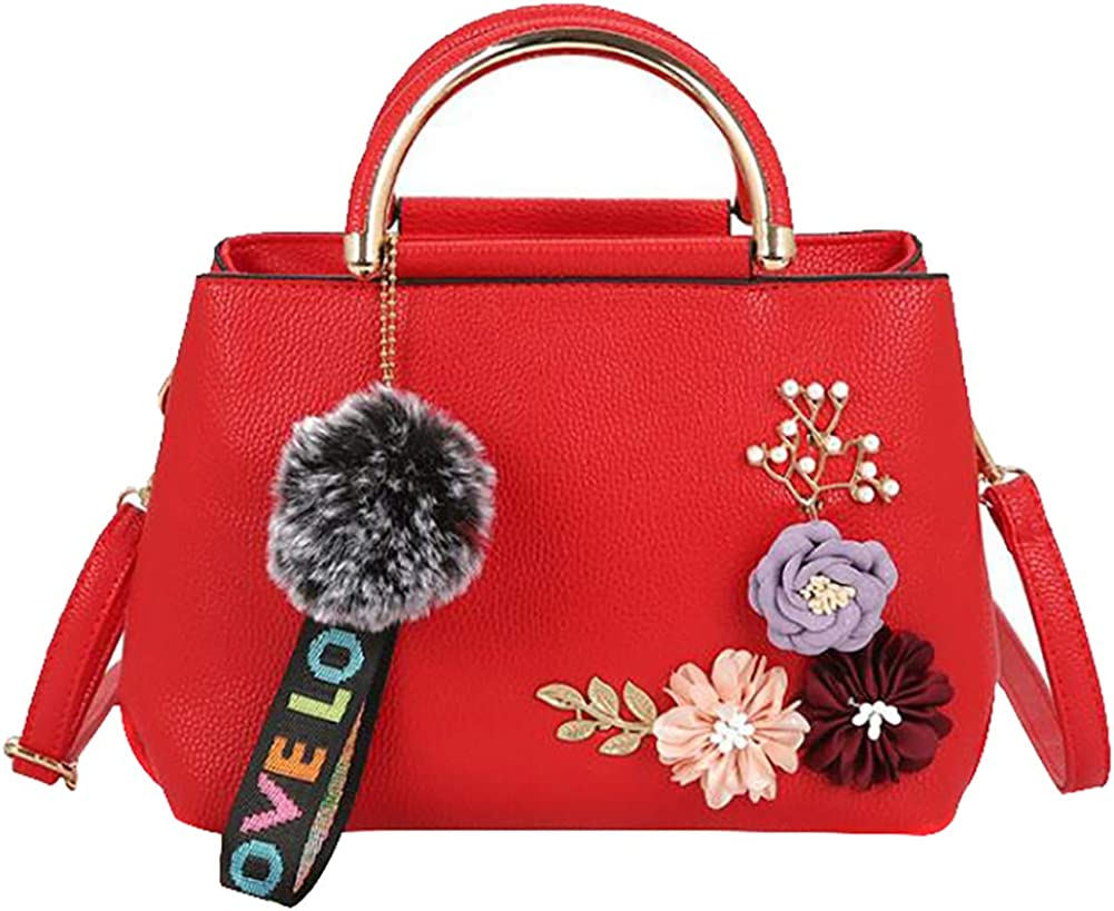 QZUnique Womens Floral Handbag PU Leather Top Handle Purse Elegant Venonat Pendant Shoulder Bag
