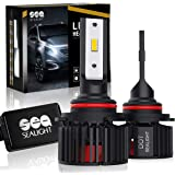 9005/HB3 LED High Beam Headlight Bulbs Conversion Kit, DOT Approved, SEALIGHT X1SS Series 9145/9140/H10 Fog Light Bulbs Super Bright- 12x CSP Chips Xenon White 9600LM 6000K Non-polarity (2 Pack)