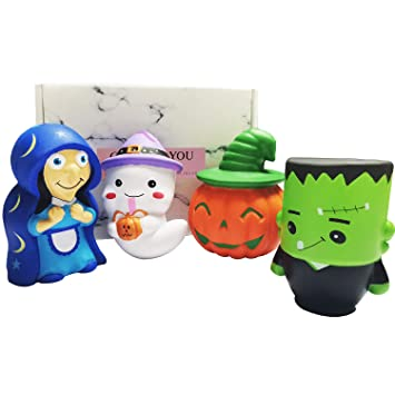 4pcs Slow Rising Halloween Jumbo Squishies Funny Gift Pack Pumpkin Spooky Ghost Zombie Witch Squeeze Toys Soft Stress Relief Hop Props Sensory