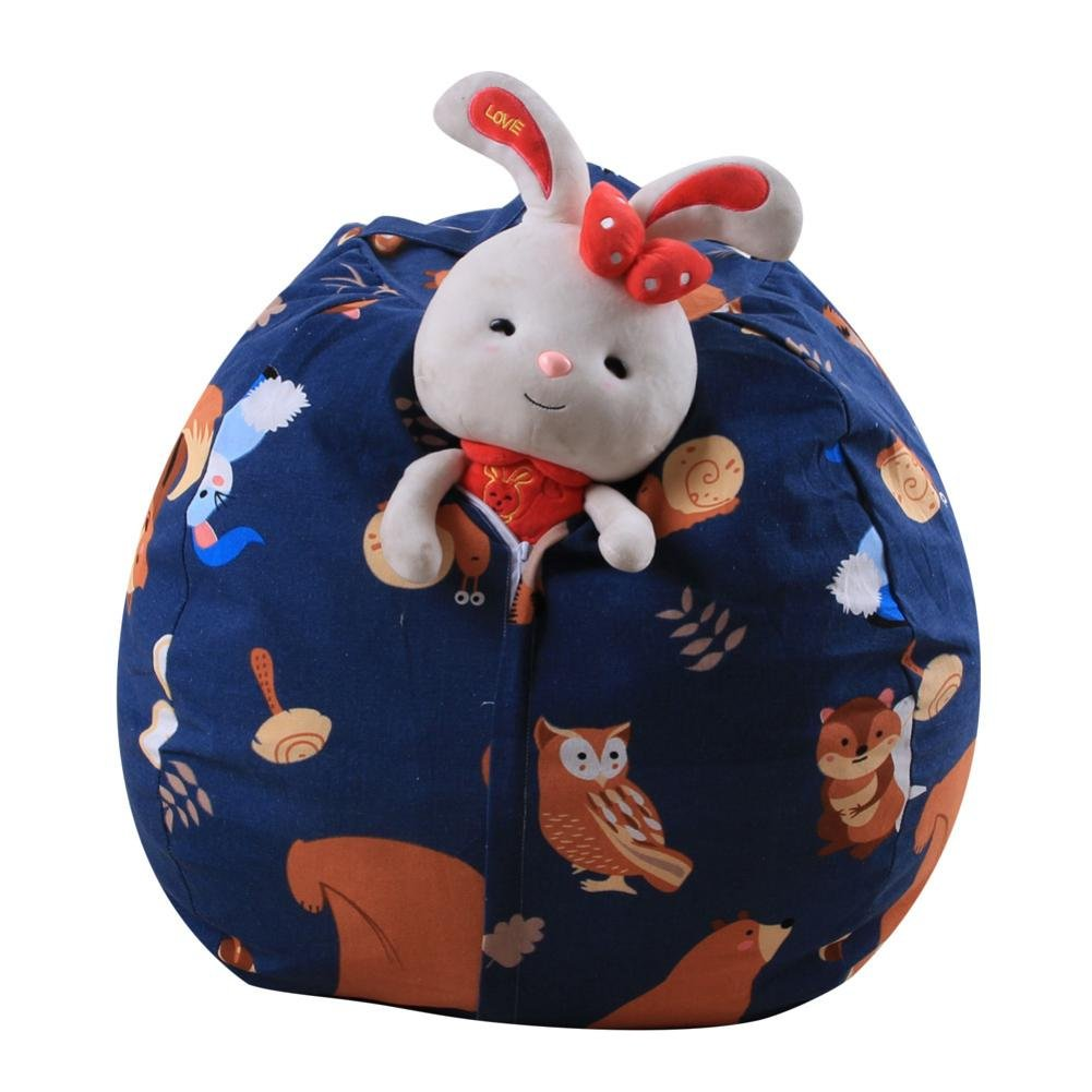 MOKO-PP Clearance Housekeeping Organizer Kids Stuffed Animal Plush Toy Storage Bean Bag Soft Pouch Stripe Fabric Chair BCompressed Organizer Bag (B)