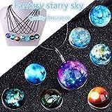 KOKOBUY Moonlight Starry Sky Dichroic Art Glass Pendant, Black Cord Necklace