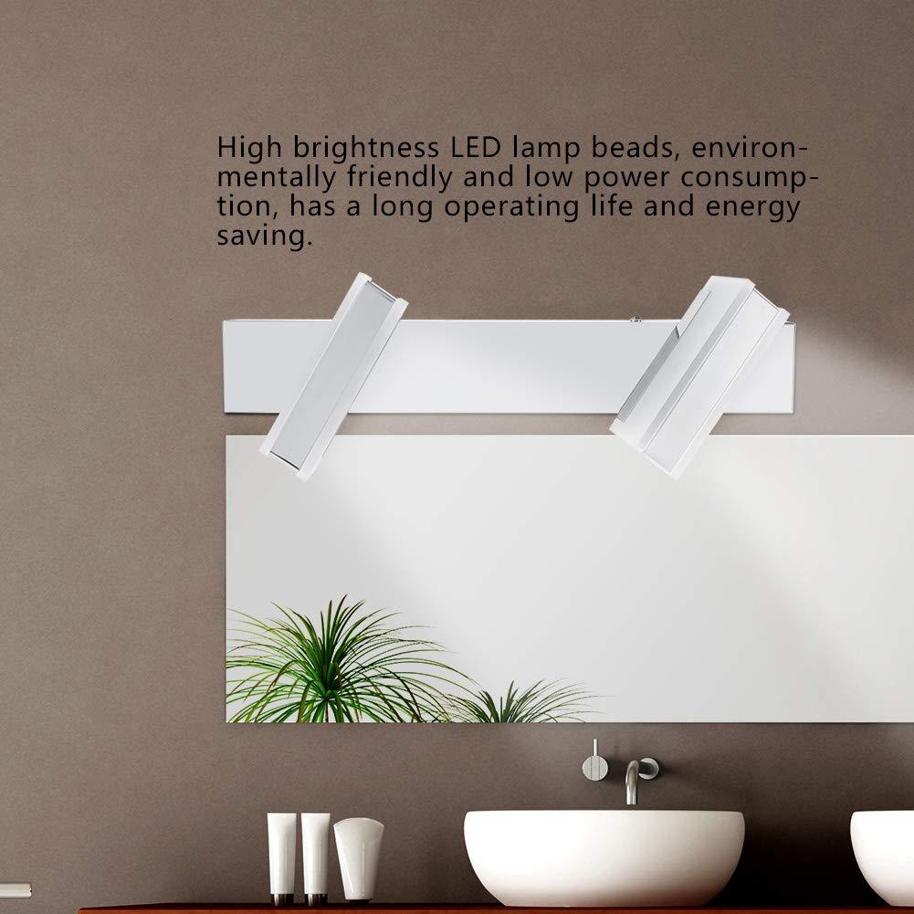 2//3//4LED Luz aplique espejo de ba/ño cristal LED espejo l/ámpara giratorio 360/grados luz blanco c/álido impermeable para cuarto de ba/ño armario pasillo sal/ón 3LED LED Espejo L/ámpara de pared giratorio
