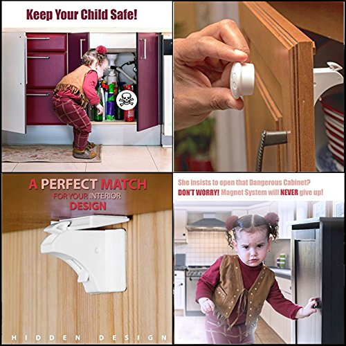 Child Magnetic Locks Baby Safety Locks Set for Cabinets & Drawers Door of 8 with 2 Keys - Baby & Child Proof Latches - 3M Adhesive Tape Locking System , No Tools or Screws Needed, Easy to Install