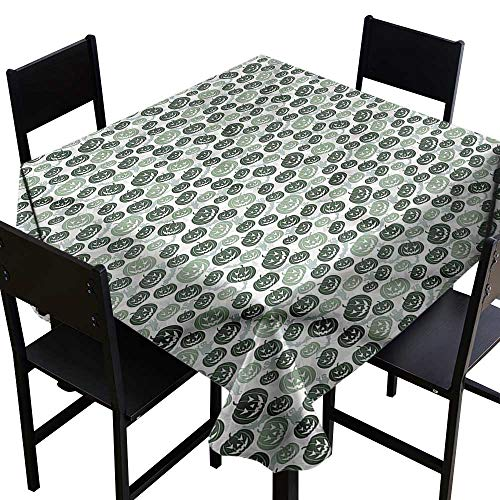 SKDSArts Square Tablecloth Fitted Pumpkin,Bats and Ghost Silhouettes,W70 x L70 for Bistro Table