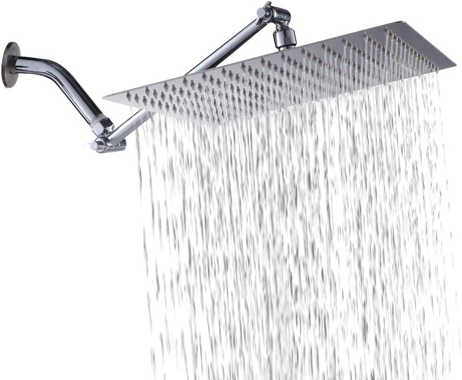 lyrlody 12 Inch Rain Shower Square Shower Head Stainless Steel Built-in Shower Head with Anti-Limescale Nozzles Waterfall for Home and Hotel