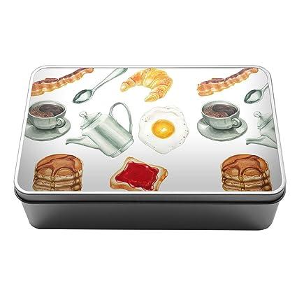 Acuarela desayuno comida tortitas Metal Almacenamiento Caja De Lata 091